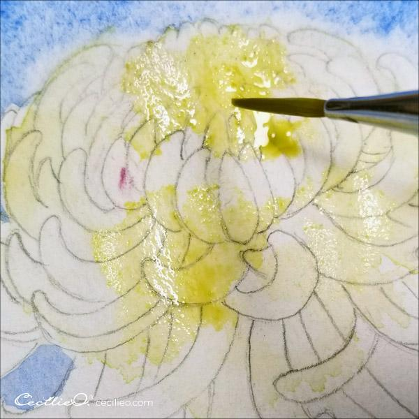 How to paint chrysanthemums in watercolor