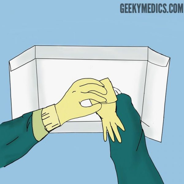 How to put on sterile gloves