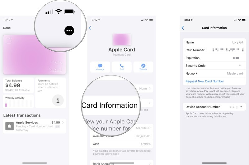 How to find your apple card number