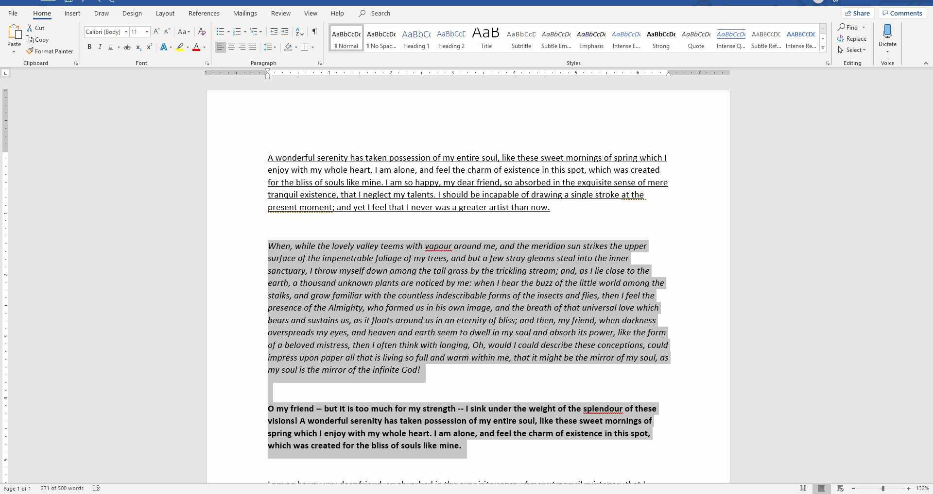 How to clear formatting in a word document