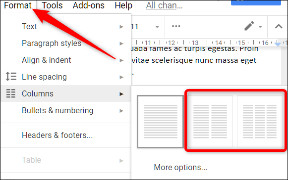 How to create multiple columns in google docs