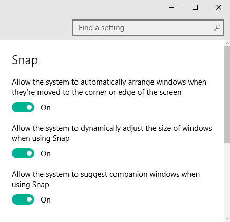 How to disable snap assist in windows 10