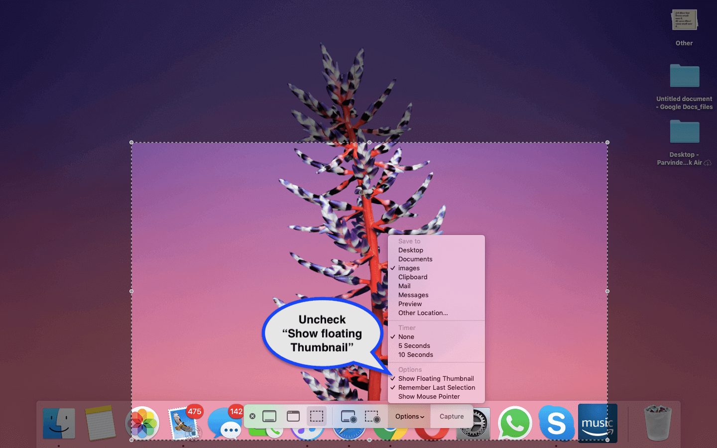 How to disable macos mojave's floating screenshot thumbnail