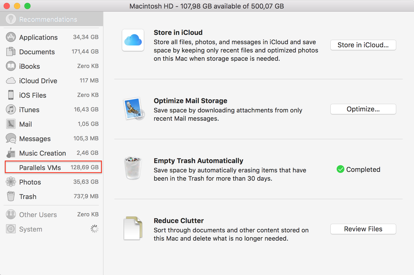 How to free up disk space in parallels