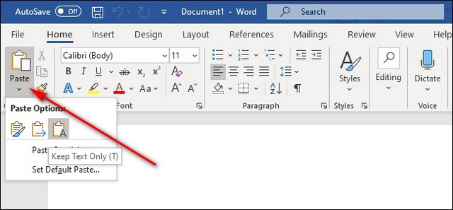 How to paste text without the extra formatting